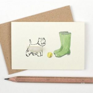 Penny Lindop gift card scottie dog play with a yellow fluffy sheep wool ball and green wellies