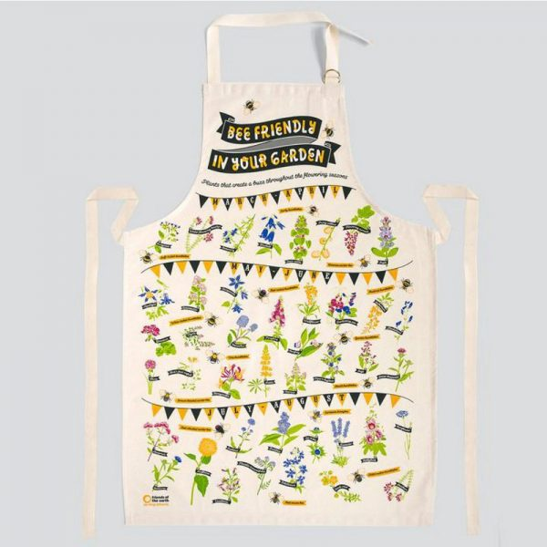 A beautifully illustrated apron by Stuart Gardiner Design illustrated with a bee friendly design