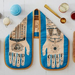 unique oven gloves illustrated with a pair of hands tattooed with Head Chef by Stuart Gardiner