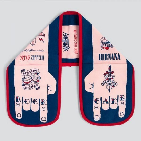 unique oven gloves illustrated with a pair of hands tattooed with Rock Cake by Stuart Gardiner