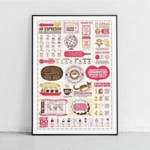 a beautifully illustrated print outlining information about coffee by Stuart Gardiner