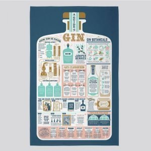A beautifully illustrated tea towel about gin by Stuart Gardiner
