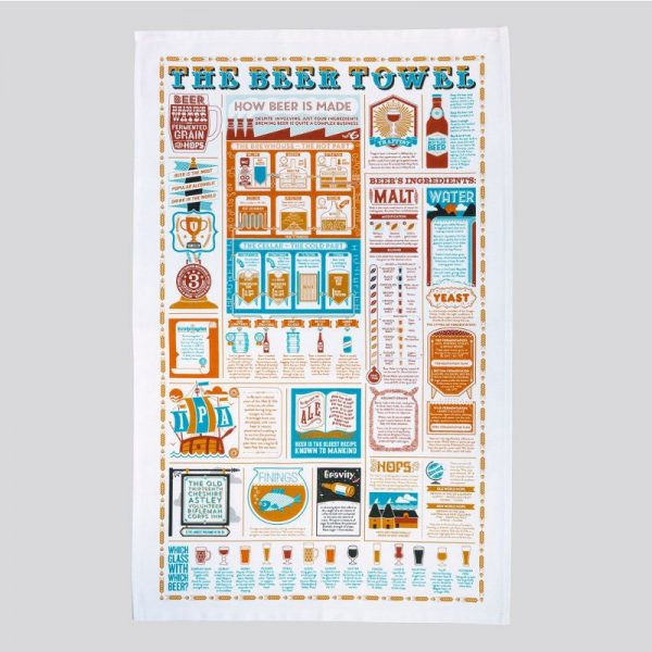 A beautifully illustrated tea towel covered in information about the beer by Stuart Gardiner