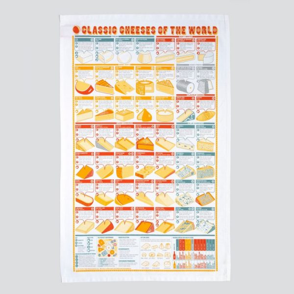 A beautifully illustrated tea towel covered in information about the classic cheeses of the world by Stuart Gardiner