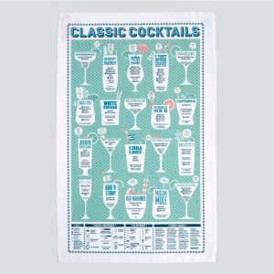 A beautifully illustrated tea towel covered in classic cocktail information by Stuart Gardiner