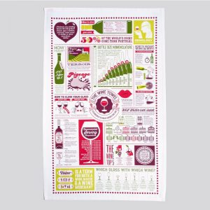 a beautifully designed tea towel illustrating wine tips and information by Stuart Gardiner