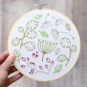 hooped embroidery kit stitched seedhead flowers in a variety of colours