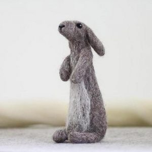 felting kit grey hare sat stood on hind legs