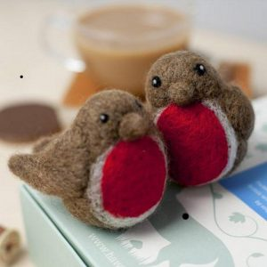 felting kit of two plump brown robbins