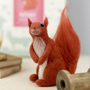 red squirrel felting kit sat on back legs bushy tail