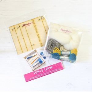 pop up loom pack and sample wool grey blue and yellow