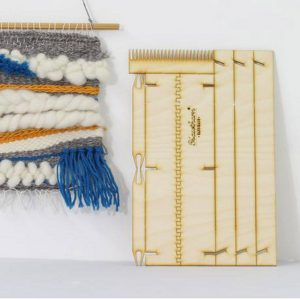 pop up weaving loom flat packed with woven wool display