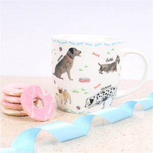white china mug with illustrations of various dog breeds and blue bone trim