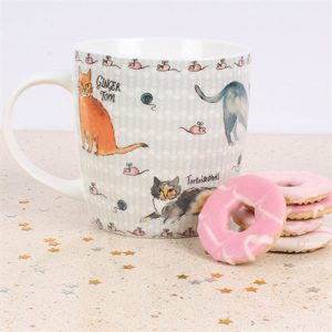 white china mug with illustration of various breeds of cats ginger tom finished id with with tiny mice around the rim and bottom of mug