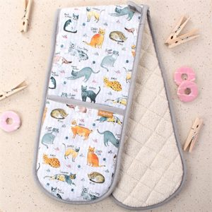 oven gloves with illustrated various breedsd of cats finished with a grey hem all the way round
