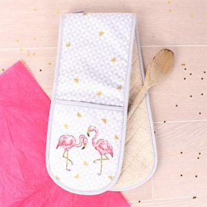 oven gloves with illustrated pink flamingos finished with a grey hem all the way round