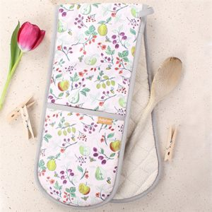 oven gloves with illustrated hedgerow plants greens purples reds and finished with a grey hem all the way round