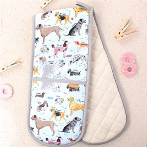 oven gloves with illustrated various breed of dogs, labrador, poodle dalmatian finished with as grey hem all the way round