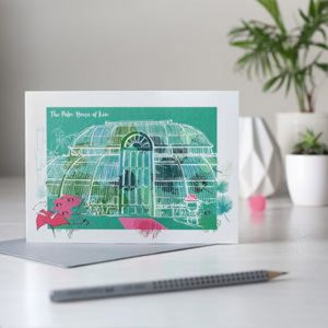everyday card illustrated image of the palm house at kew gardens