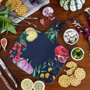 blue chopping board with illustrated lemons garlic olives