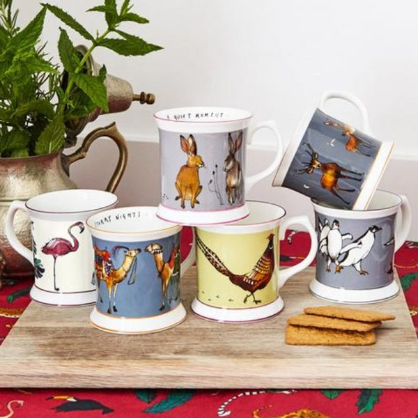 collection of 6 china mug illustrated with varuious animals, penguins flamingos