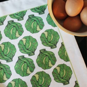 100% cotton tea towel designed by Martha & Hepsie beautifully illustrated with brussel sprouts