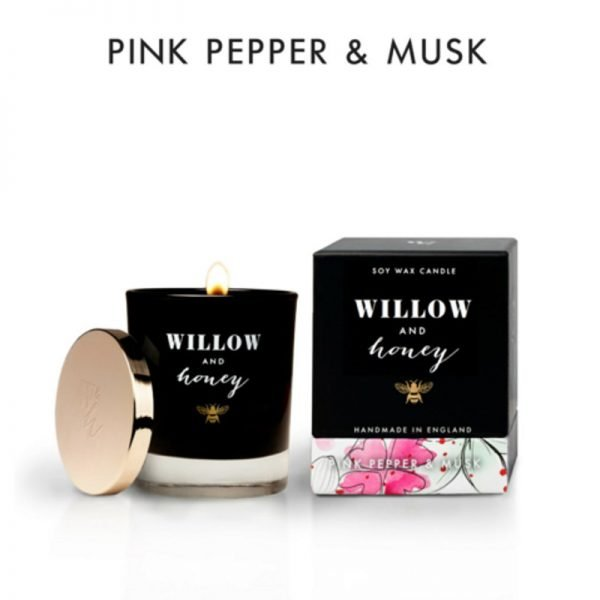 candle fragrance pink pepper and musk in black box box