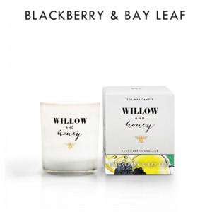 candle fragrance blackberry and bay leaf in white box