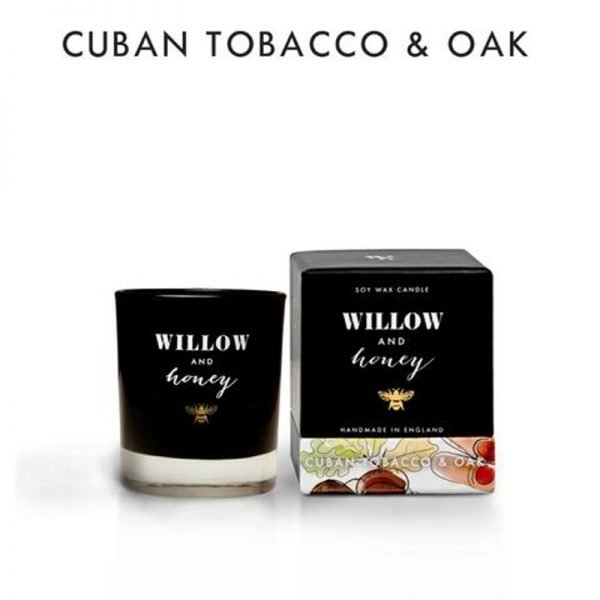 candle fragrance cuban tobacco and oak in black box box