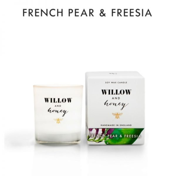 candle fragrance french pear and freesia in white box