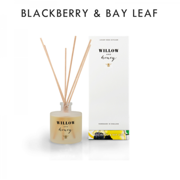 reed diffuser presented in white box fragrance blackberry and bay leaf