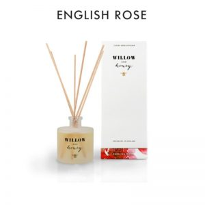reed diffuser presented in white box fragrance english rose