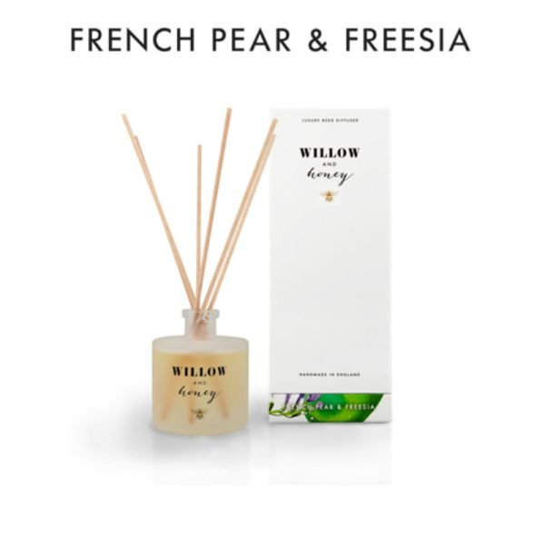 reed diffuser presented in white box fragrance french pear and freesia