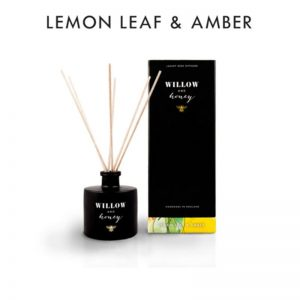 reed diffuser presented in black box fragrance lemon leaf and amber