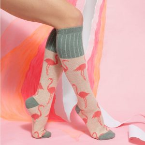 legs showing ladies cotton knee high socks pink with pink flamingo design and grey trim