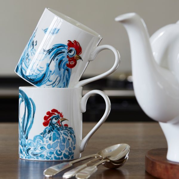 China Mug illustrated the head of a blue chicken