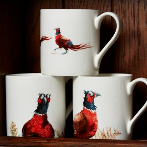 Three China Mugs illustrated with pheasents
