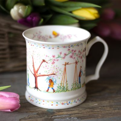 China Mug illustrated with spring scene blossom planting