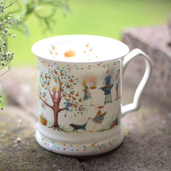 China Mug illustrated with summer scene bbq trees garden