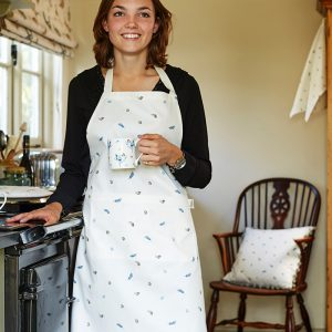 Cotton Apron white with illustrated feather and eggs