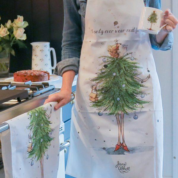 Cotton Apron Christmas lady wearing a Christmas tree