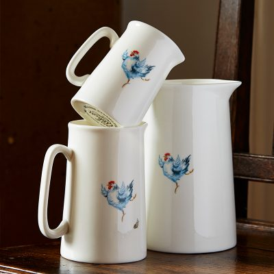 White fine bone china jugs three different sizes with single illustrated dancing hen