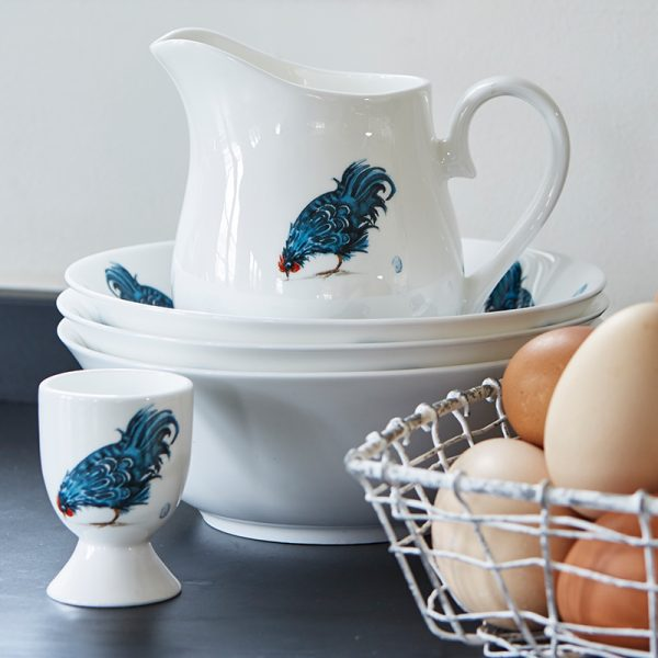 White fine bone china jug with blue hen pecking the ground