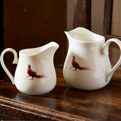 White fine bone china jugs two sizes with single male pheasant