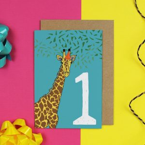 Blue age birthday card card with giraffe and number 1 on it