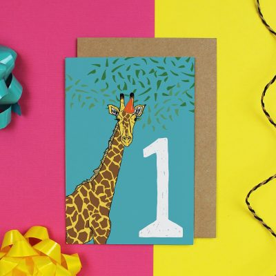 Blue age birthday card with giraffe and number 1 on it