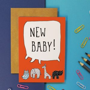 New Baby card orange background small aninals emephant giraffe owl rhino speach bubble saying new baby