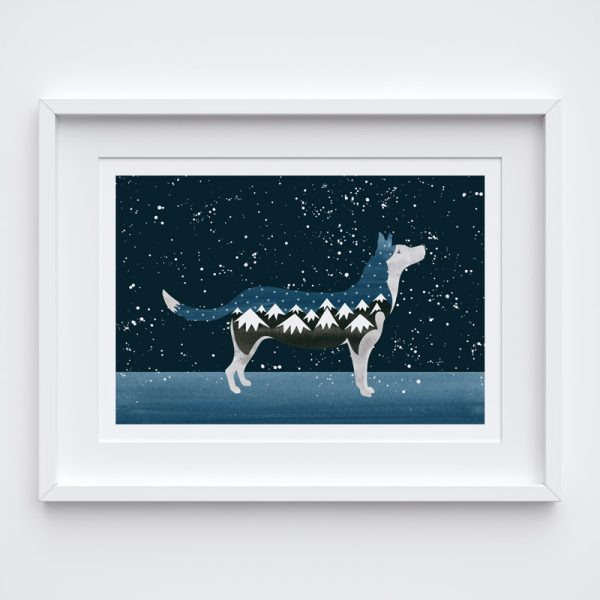 Picture of an illustrated dog with a night sky background in a white frame