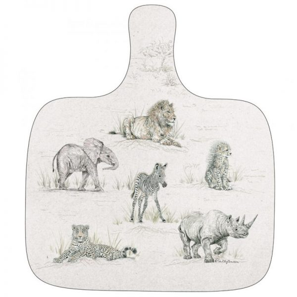 Sweet Design chopping board with a variety of our endangered animals
