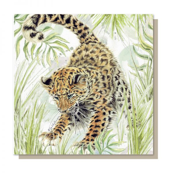Sweet Design everyday greeting card with a beautifully illustrated image of an endangered baby amur leopard